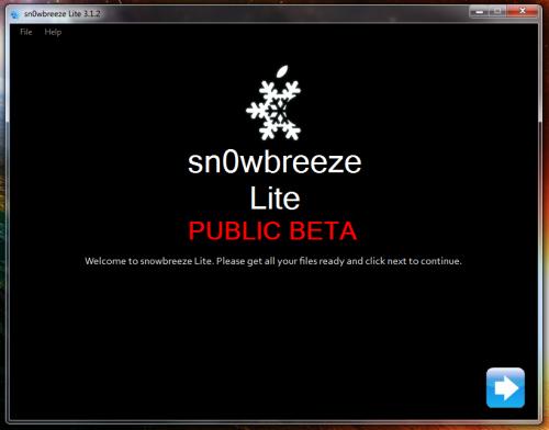 1snowbreeze screen1 500x392 Tutoriel   Jailbreak Sn0wbreeze BETA 3.1.2 iPhone v1/3G/3GS et iPod Touch 1G/2G/3G (Windows)