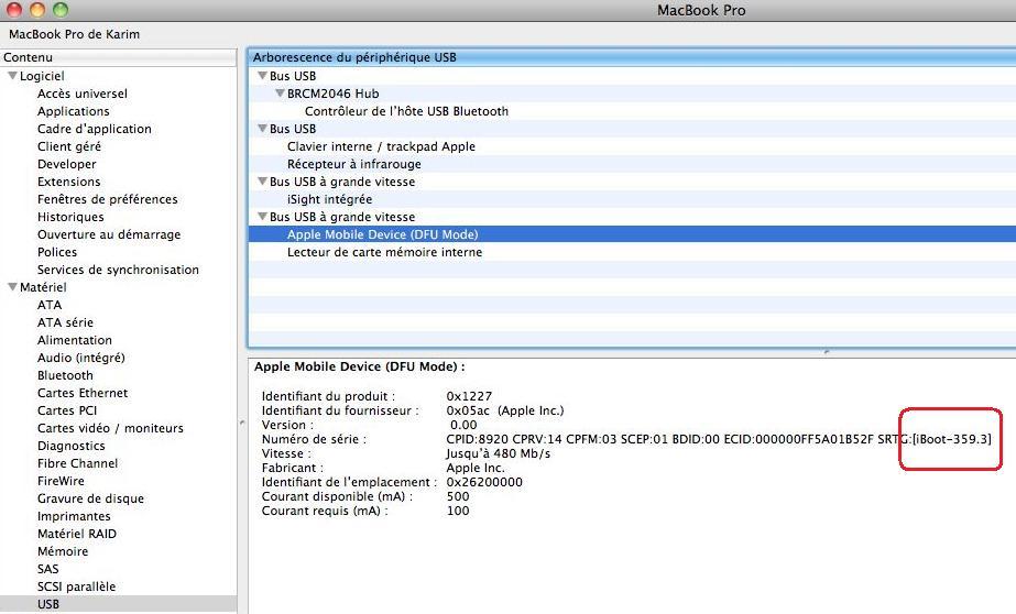 Capture d'écran 2010 01 17 à 16.44.271 Tutoriel   Déterminer la version de votre iBoot sous MAC avec Information Système / System Profiler