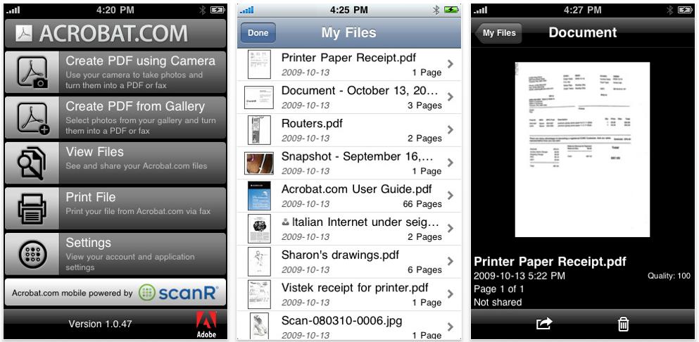 acrobatscreen AppStore   Acrobat.com : Lecteur officiel de PDF pour iPhone