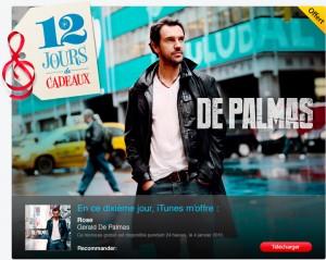 de palmas 300x239 iTunes   12 jours de cadeaux, le single Rose de Gerald De Palmas