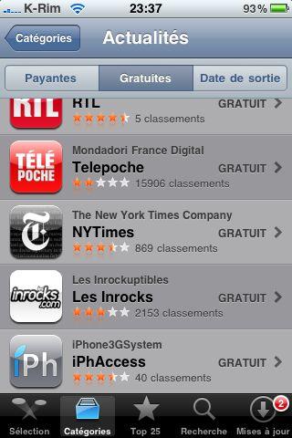 IMG 0905 AppStore   iPhAccess 2.0 est passée dans le Top 25 des App dactualités sur lAppStore