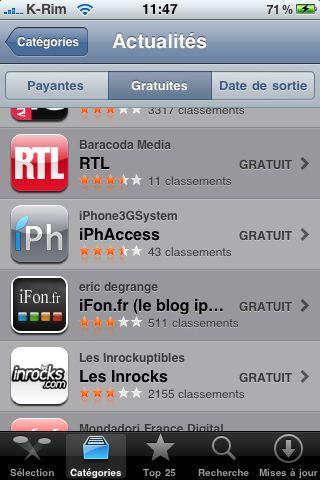 IMG 0909 AppStore   iPhAccess 2.0 est passée dans le Top 25 des App dactualités sur lAppStore