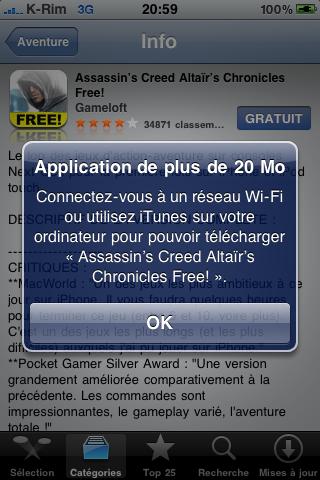 AppStore   La limite est passée de 10 à 20 Mo pour le téléchargement en EDGE/3G