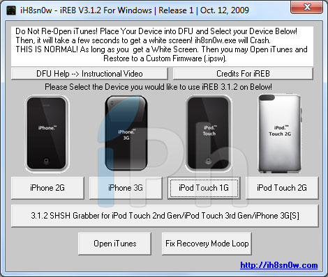 ireb Tutoriel – Jailbreak 3.1.3 Sn0wbreeze 1.5.2 custom firmware 3.1.3 iPhone 1G 3G 3GS et iPod Touch 1G [Windows]