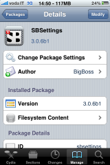 13 Cydia   SBSettings 3.0.6 bêta 1 : mise à jour disponible