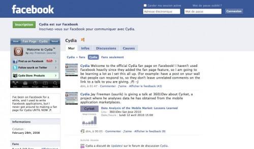 CydiaFacebook 500x294 Cydia   Notre application préférée possède une page sur facebook
