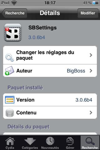 IMG 0016 Cydia   Mise à jour de SBSettings en 3.0.6 beta 4