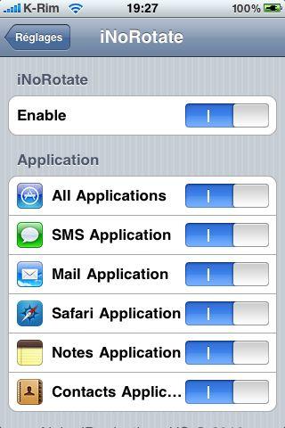 IMG 0956 Cydia   iNoRotate : Désactiver la rotation en mode paysage