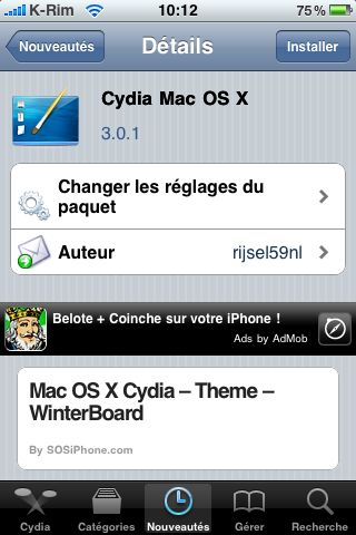 IMG 0980 Cydia   Thème MAC OS X pour votre un Cydia personnalisé