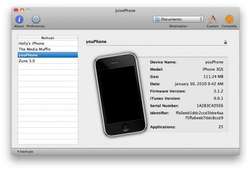 backups 500x341 News   JuicePhone : Extraire des données des sauvegardes iPhone