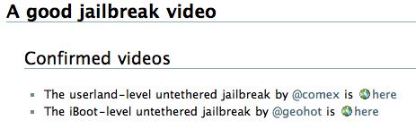 comex Jailbreak   Comex : Une nouvelle vidéo de Jailbreak Untethered 3.1.3 pour tous iPhone et iPod Touch