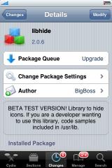 16 Cydia   Libhide 2.0.6 1 et SBSettings 3.0.7 1 mis à jour