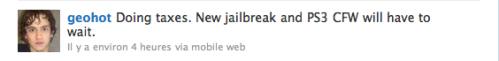 Capture décran 2010 04 15 à 11.30.57 499x61 Jailbreak   Geohot : Le jailbreak et la PS3 devront attendre