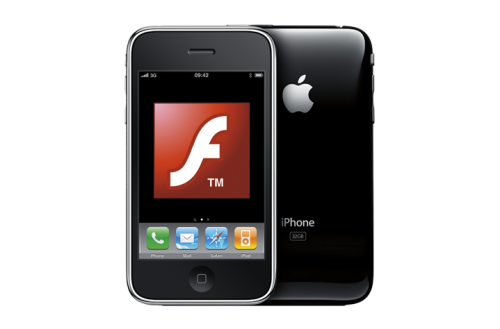 adobe iphone 500x329 News   Adobe abandonne le Flash sur liPhone