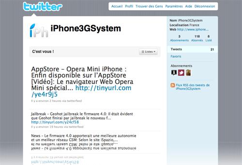 twitteriPh News   iPhone3GSystem se met à jour sur twitter