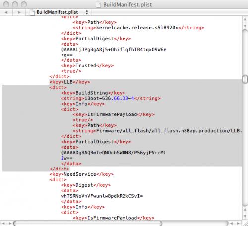 BuildManifest 500x456 Tutoriel   Comment mettre à jour son iPhone en 3.1.3 sans upgrade le baseband [Mac]