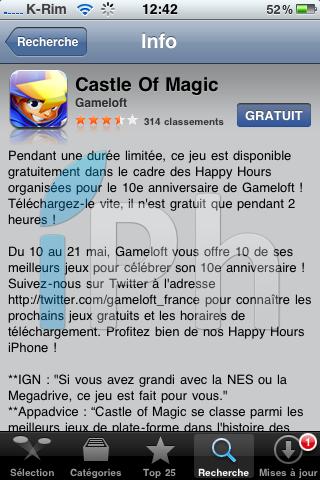 IMG 09771 Jeux   iPhone Happy Hour : Castle of Magic gratuit pendant encore 1 heure