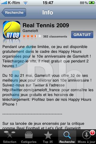IMG 0987 Jeux   iPhone Happy Hour : Real Tennis 2009 gratuit pendant 2h