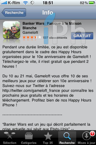 IMG 0991 Jeux   iPhone Happy Hour : Banker Wars gratuit pendant 2 heures !