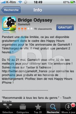IMG 1011 250x375 Jeux   iPhone Happy Hour : Bridge Odyssey gratuit pendant 2 heures