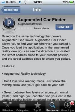 p 480 320 1638C05D 475D 4B57 B4D7 797D2C4AA9A7 250x375 AppStore   Augmented Car Finder : Retrouver votre voiture à laide de la réalité augmentée