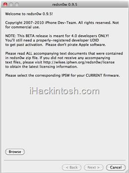 redsn0w Tutoriel   Jailbreak iPhone 3G Firmware 4.0 Beta 4 (Mac)