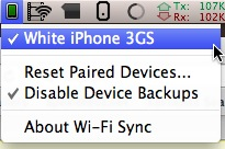 wifisync1 Tutoriel   Installer Wifi Sync, lapplication permettant de synchroniser votre appareil en Wi fi ! [Mac]