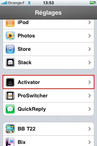 112 Cydia   Activator : Mis à jour en version 1.4 bêta compatible iOS 4
