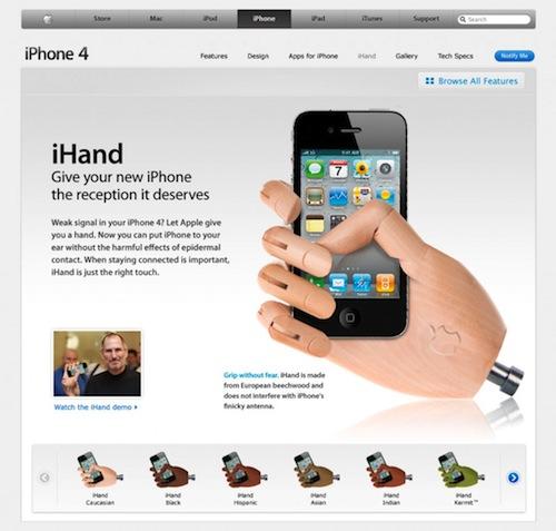 iHand web Humour   iHand : La Solution aux problèmes de Réception de liPhone 4