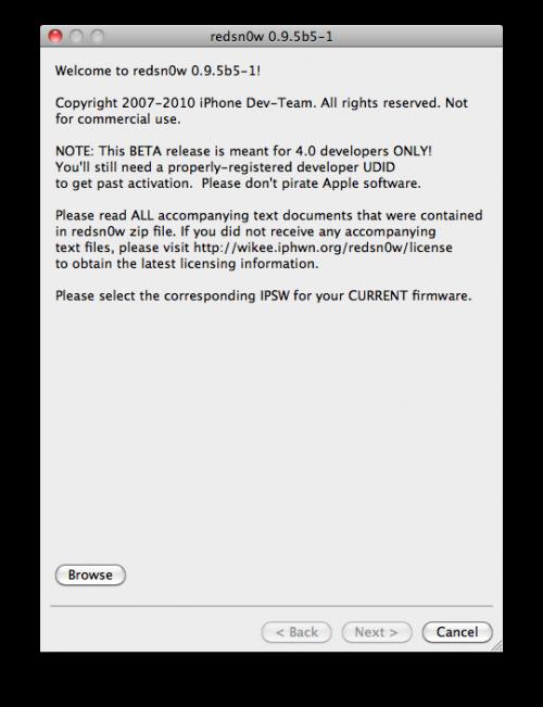 redsn0w Tutoriel   Jailbreak iOS 4.1 bêta redsn0w 0.9.5 bêta 5 pour iPhone 3G et iPod Touch 2G