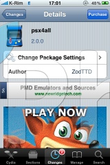 1 Cydia   Psx4All 2.0.1 : Mise à jour de lémulateur de playsation pour iPhone et iPod Touch