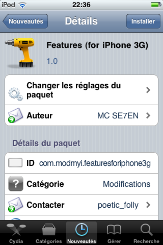 IMG 0002 Cydia   Features (for iPhone 3G) disponible sur Cydia