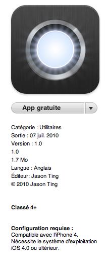 LED Light Apps   LED Light pour iPhone 4 : Version Gratuite dans lAppStore