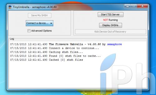 Screen 2010 07 15 à 12.43.15 500x307 Tutoriel   TinyUmbrella 03.13.83 : Sauvegarder son ECID iOS 4.0 / 4.0.1 [WINDOWS | MAC | LINUX]