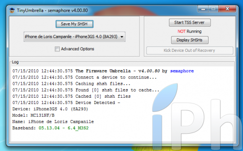 Screen 2010 07 15 à 12.44.58 500x312 Tutoriel   TinyUmbrella 03.13.83 : Sauvegarder son ECID iOS 4.0 / 4.0.1 [WINDOWS | MAC | LINUX]
