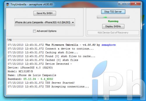 Screen 2010 07 15 à 12.45.36 500x346 Tutoriel   TinyUmbrella 03.13.83 : Sauvegarder son ECID iOS 4.0 / 4.0.1 [WINDOWS | MAC | LINUX]