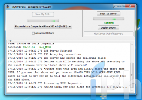 Screen 2010 07 15 à 12.46.23 500x353 Tutoriel   TinyUmbrella 03.13.83 : Sauvegarder son ECID iOS 4.0 / 4.0.1 [WINDOWS | MAC | LINUX]