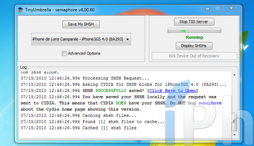 Screen 2010 07 15 à 12.46.36 500x289 Tutoriel   TinyUmbrella 03.13.83 : Sauvegarder son ECID iOS 4.0 / 4.0.1 [WINDOWS | MAC | LINUX]