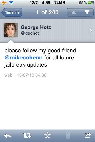 foto4 Jailbreak News   GeoHot abandonne le Jailbreak de liPhone 4