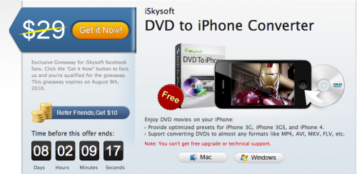 iSk 500x244 News   DVD to iPhone Converter : gratuit pendant un temps limité !