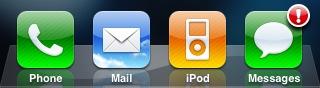 News   iOS 4 : Une nouvelle fonctionnalité affiche un badge derreur sur lapplication Messages