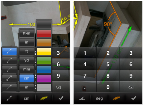 misurescreen2 499x368 AppStore   My Measures & Dimensions : Schématiser avec liPhone