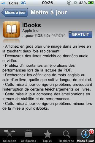 AppStore   iBooks mis à jour en version 1.1.2
