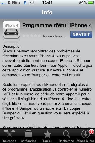 programme etuit iphone4 AppStore : Programme détui iPhone 4 : Obtenez un bumper gratuit