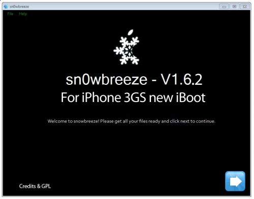 sn0wbreeze 500x392 Tutoriel   Sn0wBreeze v1.6.2 : Jailbreak iOS 4 iPhone 3GS new iBoot ECID 3.1.2