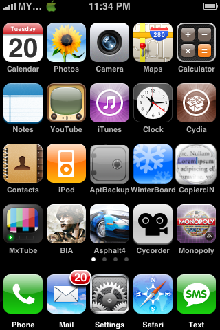 5 column springboard Cydia   Five Column SpringBoard mis à jour : compatibilité iOS 4