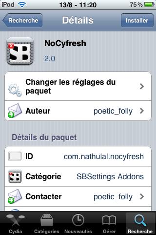 IMG 0007 Cydia   Mise à jour de NoCyfresh en version 2.0 : compatible iPhone 4