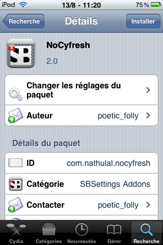 IMG 0007 Cydia   Mise à jour de NoCyfresh en version 2.0 : compatible iPhone 4