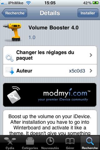 IMG 00521 Cydia   Volume Booster 4.0 : Augmenter le volume de liPhone et de liPod Touch
