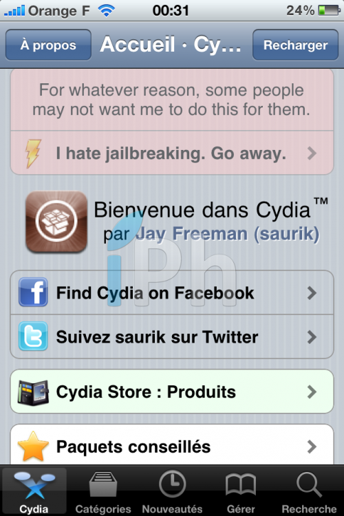 IMG 0126 500x750 Tutoriel   JailbreakMe iOS 4 iPhone 3G / 3GS / 4 iPod Touch 2G / 3G et iPad 3.2 / 3.2.1 par Comex [VIDEO][MAJ]